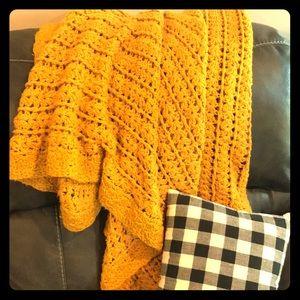 Vintage Mustard Yellow Afghan Throw Blanket Fall